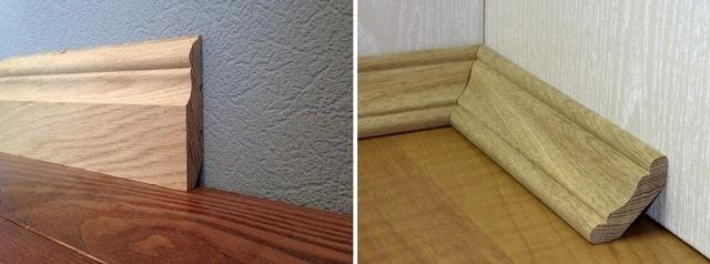 Плинтус, прижимаемый полностью к стене (слева) и устанавливаемый к ней под углом. Во втором варианте кабель может быть пропущен в пространство, образованное уклоном плинтуса.