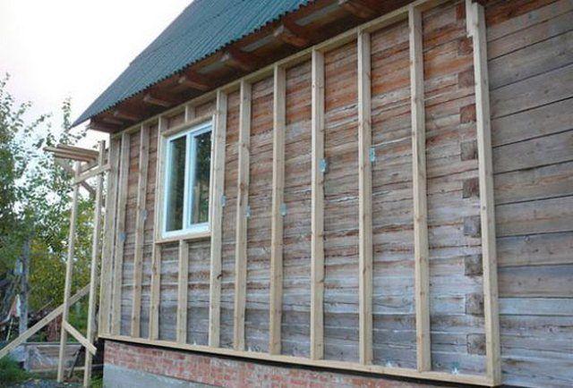Крепление обрешетки на стенах деревянного дома