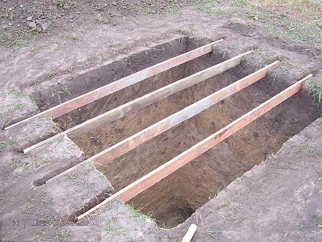 Укладка опорных досок для заливки фундамента
