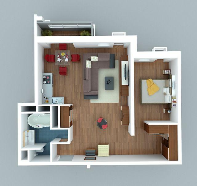 Часть комнаты можно объединить с кухней, а в оставшейся - устроить уютный уголок