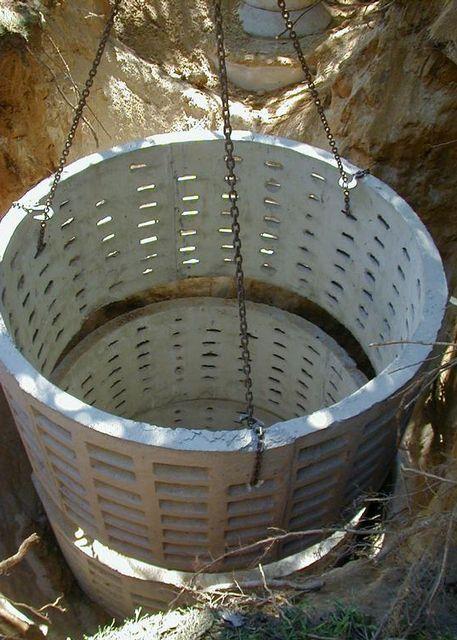 Установка бетонных колец с перфорированными стенками