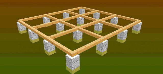 Опоры столбчатого фундамента могут быть выложены из кирпича либо отлиты из бетона