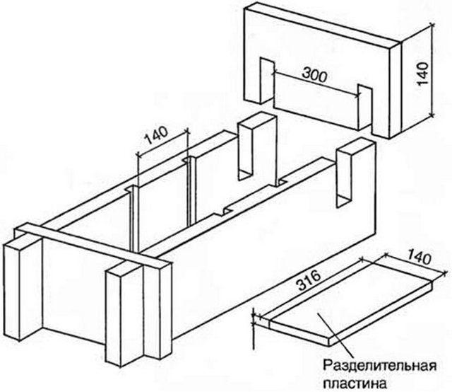 Один из вариантов разборных форм для производства арболитовых блоков