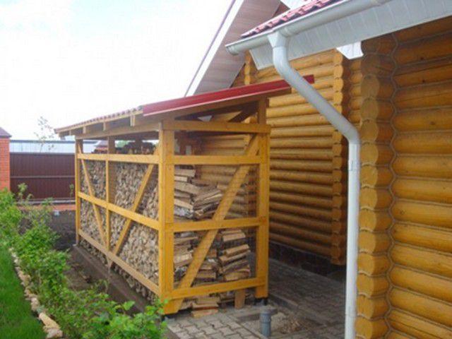 Удачно расположенный дровяник - недалеко идти от входа в дом