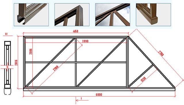 Чертеж полотна консольных откатных ворот с шириной проема 4 метра