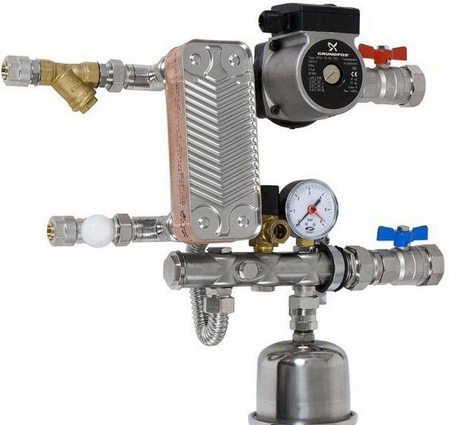 Передача тепловой энергии от системы отопления может быть организована через теплообменник