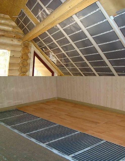Пленочные нагреватели могут монтироваться и на пол, и на стены, и на потолок