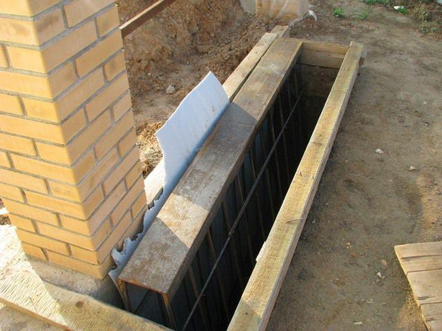 Обрезные доски по краям ямы помогут выровнять бетон по уровню
