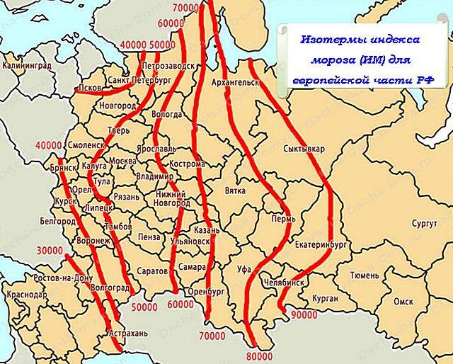 Схема примерного распределения индекса мороза (ИМ) на территории европейской части России