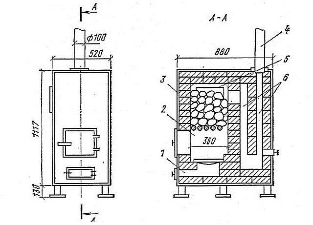Металлическая печь с внутренней кирпичной кладкой