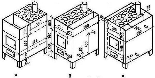 Варианты размещения водогрейных баков на корпусе печки