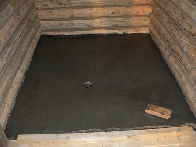Исполненная стяжка банного пола