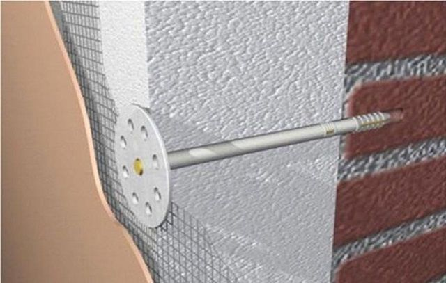 Крепление плит пенополистирола к стене