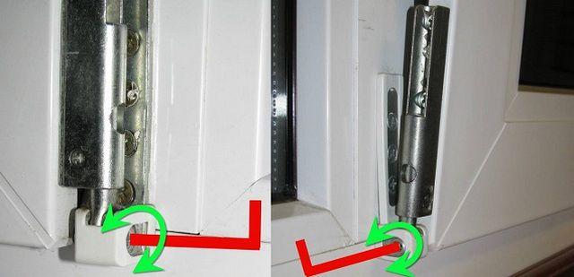 Вращением этого винта можно отжать или прижать нижний угол оконной створки.