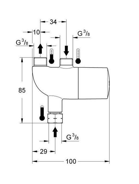Примерная схема установки термостата