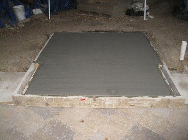 Залитый фундамент под кладку кирпичной печки