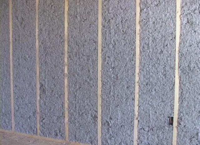 Стена, утепленная эковатой