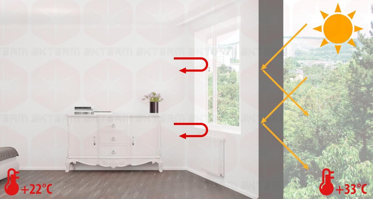 """Применение покрытия """"АКТЕРМ Бетон"""" целесообразно в том числе с целью сокращения теплопотерь через оконные откосы. Комфортная температура в доме будет поддерживаться в любой из сезонов года"""