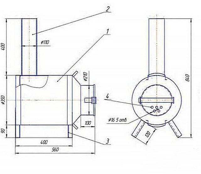 Простейшая конструкция из стандартного металлического бидона