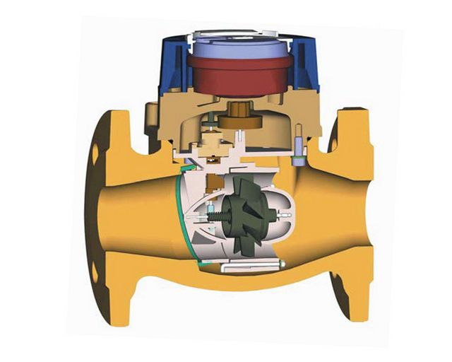 Схема устройства водомера с турбинкой