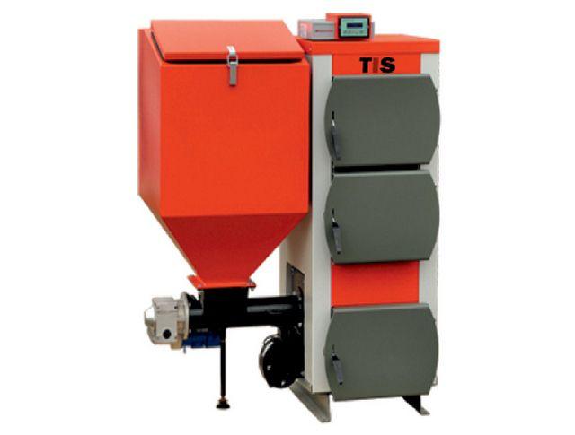 Пеллетный котел с автоматической подачей топлива всегда отличает вместительный загрузочный бункер