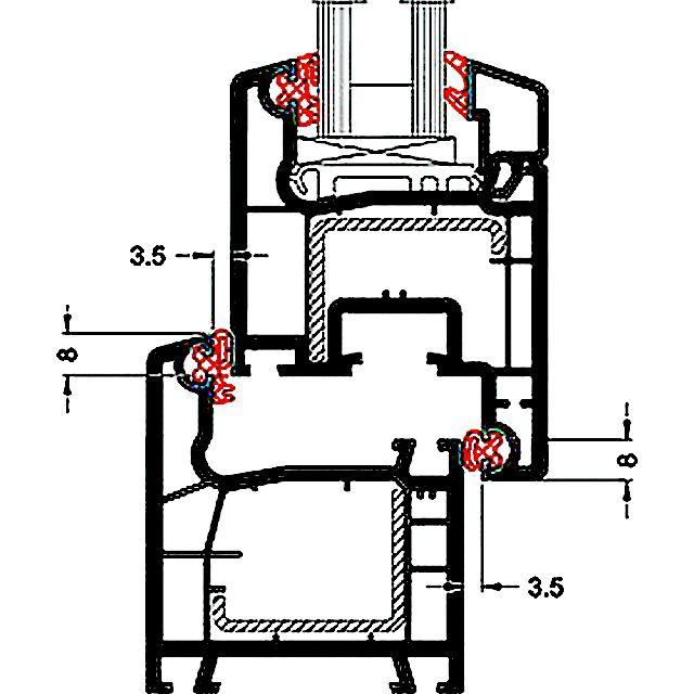 Одна из схем расположения уплотнительных контуров
