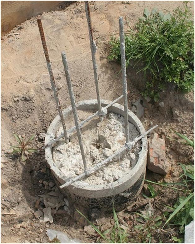 Армирование фундамента из асбестоцементных труб