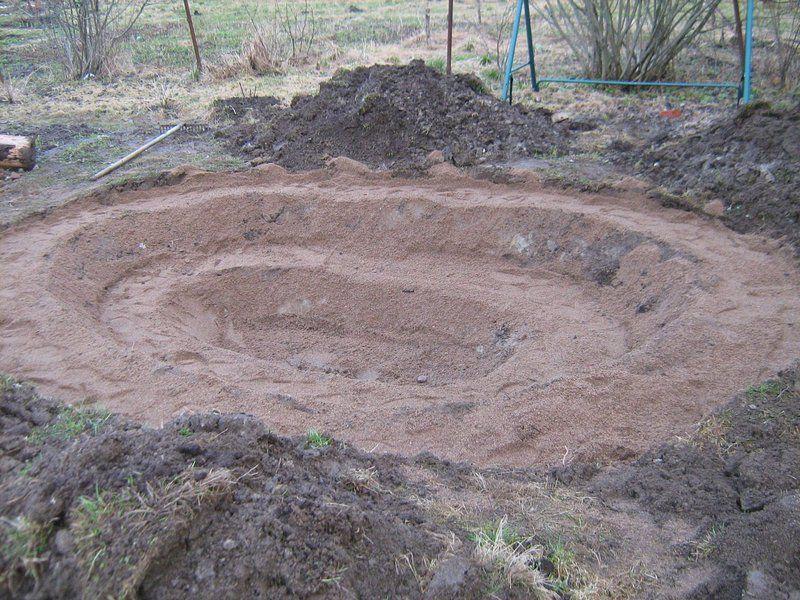 Далее вырывается яма по размеру ванны