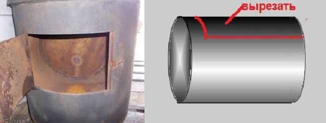 Из куска трубы делаем камеру для камней