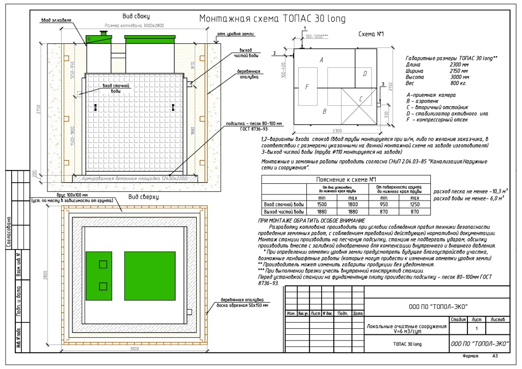 Монтаж септика ТОПАС 30 ЛОНГ (схема)