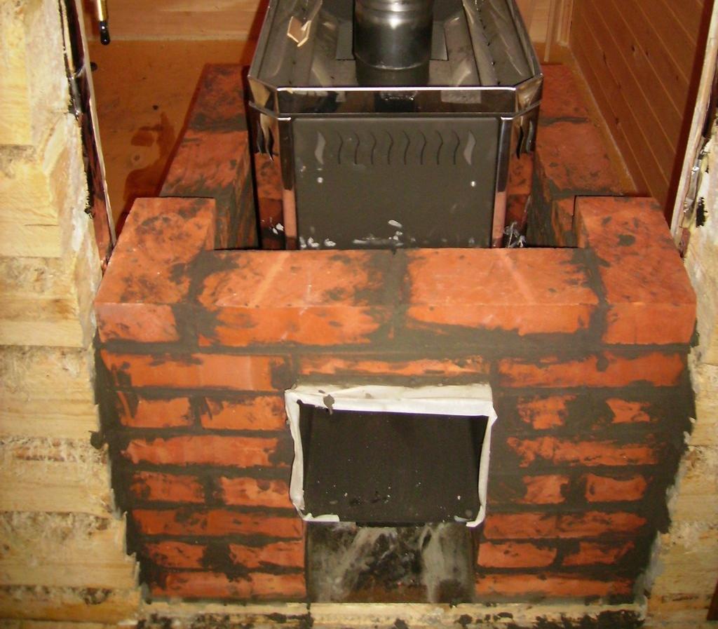 Пример обкладки печи в бане кипичом