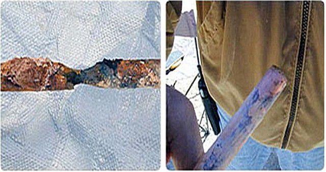 Сравнительный тест: оцинкованный (слева) и омедненный (справа) электрод после 10 лет эксплуатации в условиях агрессивной среды кислого грунта