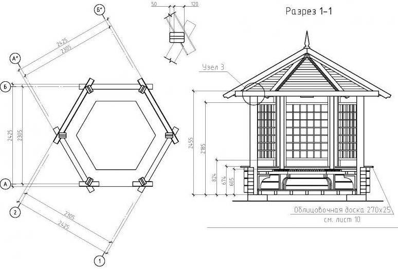 Схема шестигранной беседки в разрезе