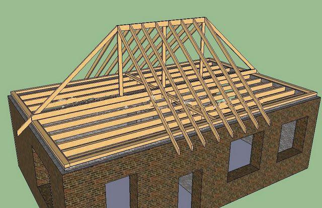 Установка стоек и стропил на фронтальных сторонах крыши