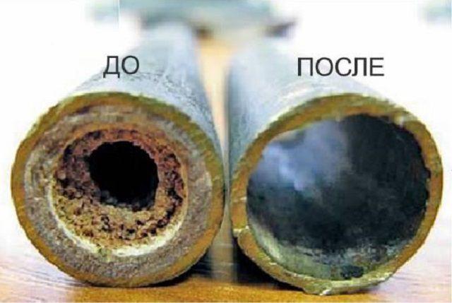 Не правда ли - жуткая картинка наростов в трубах до очистки?