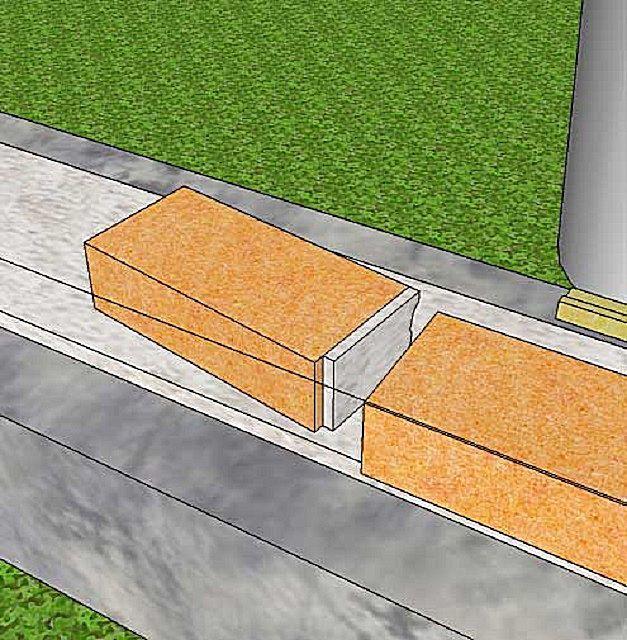 Натянутый шнур поможет точно соблюсти горизонталь первого ряда кладки