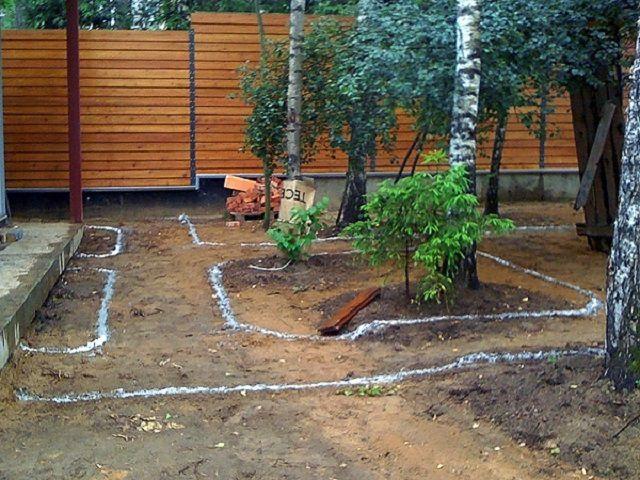 Одновременно на местности отмечается расположение клумб, групп деревьев или кустов, других объектов