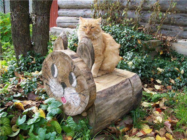 Скамейка может быть построена из цельного бревна