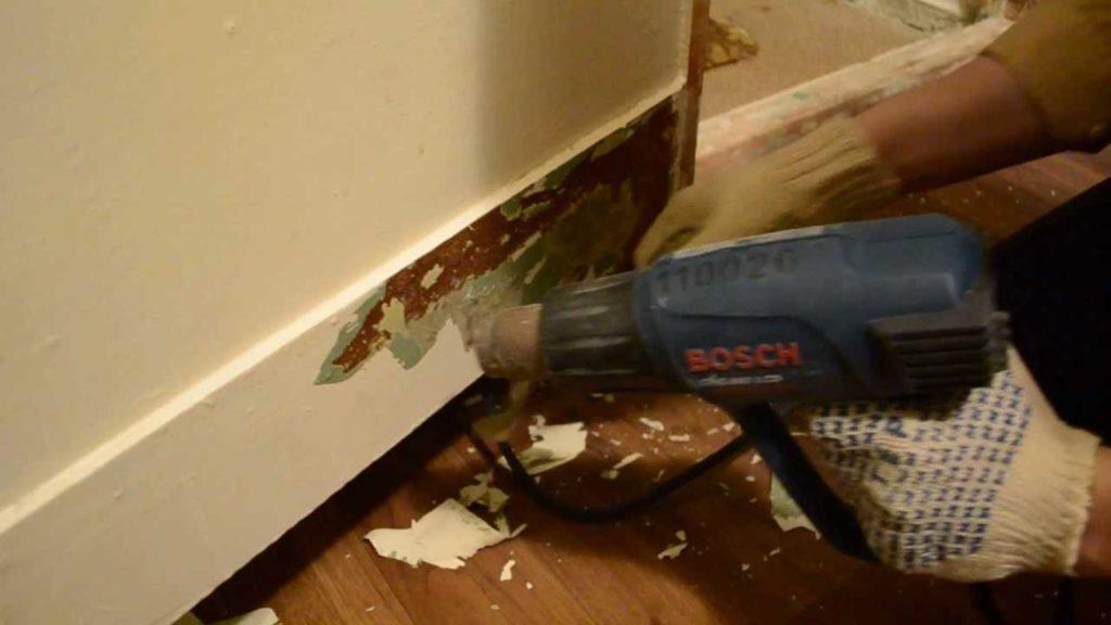 Снятие краски строительным феном