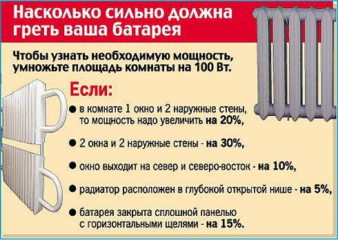 Стандартный расчет радиаторов отопления