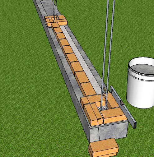 Укладываем кирпичи между колоннами