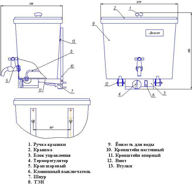 Устройство и установка наливного электрического водонагревателя