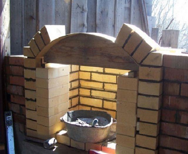 Если планируется фигурная арка над топкой, то нужно приготовить материал для шаблона