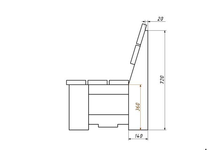 Простая скамейка из дерева  чертежи 60