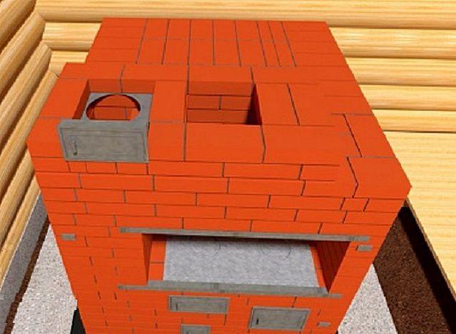 23-й ряд - монтаж дверцы прочистного окошка для дымохода