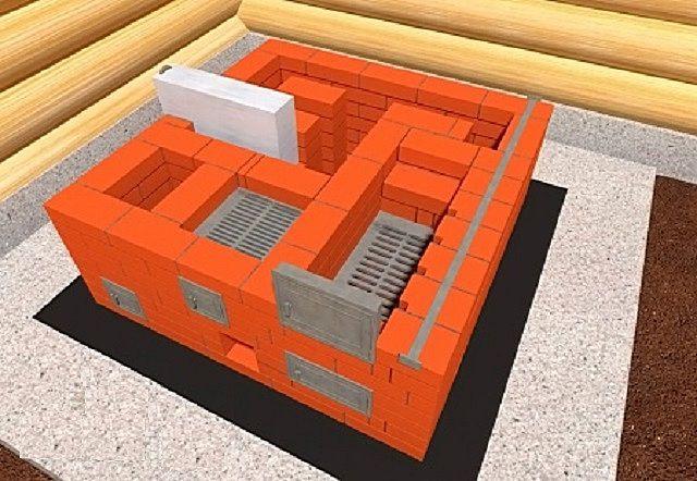 Седьмой ряд: стяжка полосой боковой стенки, установки колосника - в малую, и дверцы в большую топку
