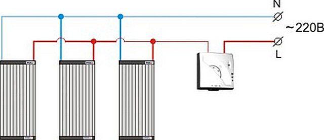 Простейшая схема подключения ПЛЭН к электропитанию и термостату