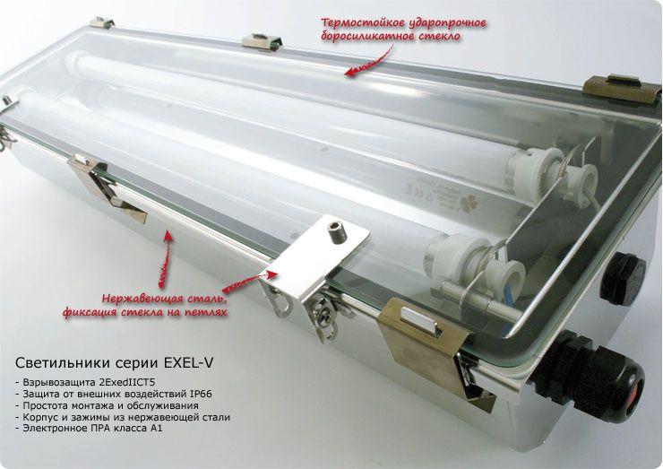 Взрывозащищенные люминесцентные светильники серии EXEL-V из нержавеющей стали