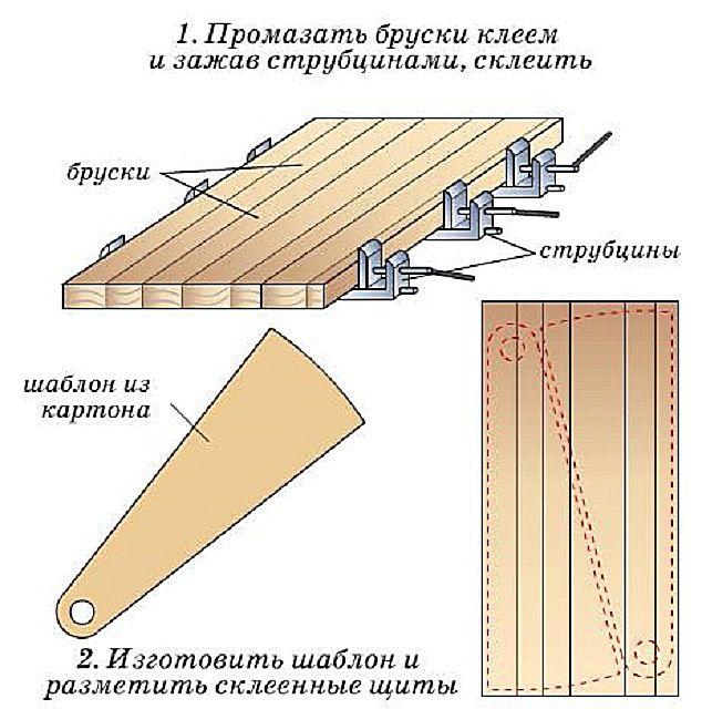 Склеивание бруса в единую панель и разметка ступеней
