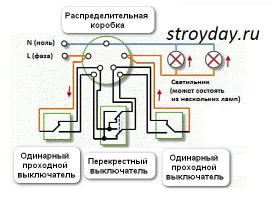 Схема подключения проходных выключателей на 2 светильника